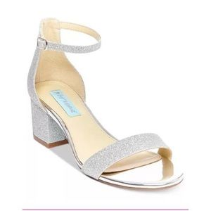 BETSEY JOHNSON Miri Silver Glitter Low Heels